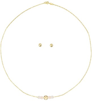 "Forever Last 10kt Gold Necklace and Earring set - 3mm gold ball stud earrings & 14"" Singapore chain white and pink gold balls"