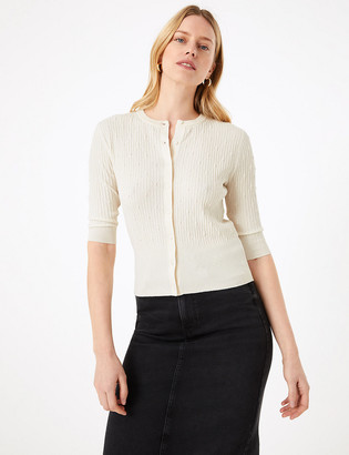 Marks and Spencer Textured Crew Neck Cardigan