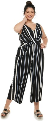 Candies Juniors' Plus Size Candie's Wrap Front Knit Jumpsuit