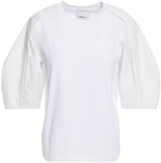 3.1 Phillip Lim Pleated Cotton-poplin And Jersey Top