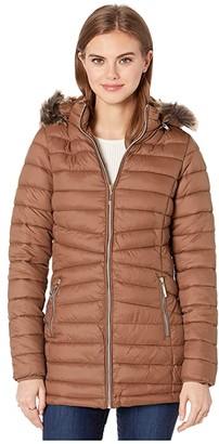 YMI Snobbish Long Polyfill Puffer Jacket with Faux Fur Trim Hood (Tobacco) Women's Clothing