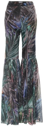 Halpern Printed high-rise flared pants