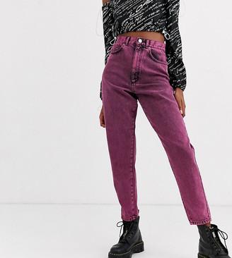 ASOS DESIGN Tall Balloon leg boyfriend jeans in pink acid wash