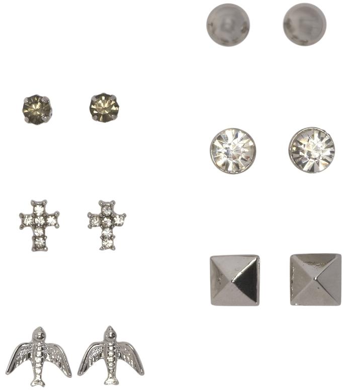 Aeropostale Bling & Cross Stud Earring 6-Pack