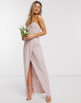 TFNC bridesmaid one shoulder wrap front maxi dress in pink