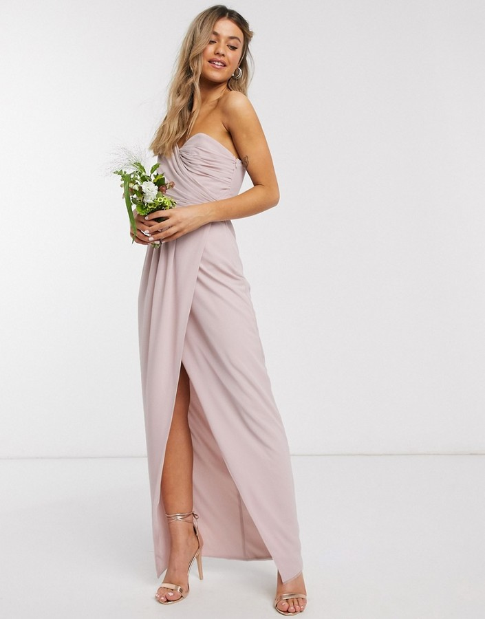 Thumbnail for your product : TFNC bridesmaid one shoulder wrap front maxi dress in pink
