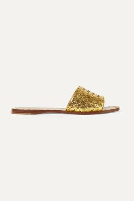 Bottega Veneta Metallic Intrecciato Leather Slides - Gold