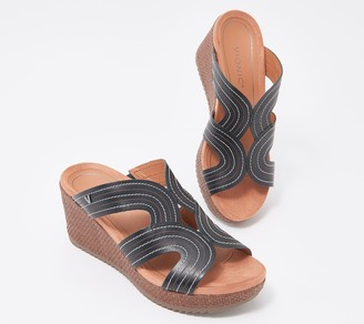 Vionic Leather Raffia Slide Wedges - Malorie
