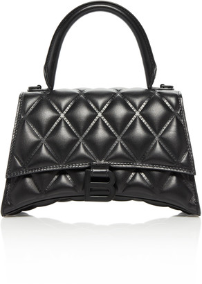 Balenciaga Hourglass Embellished Quilted-Leather Top Handle Bag