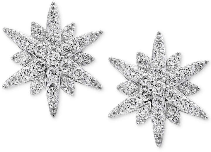 Effy Pave Classica by Diamond Starburst Stud Earrings (1-1/3 ct. t.w.) in 14k White Gold
