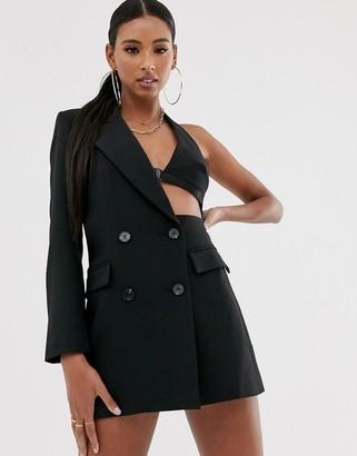 Asos Design DESIGN asymmetric cut out blazer in black