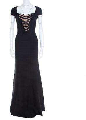 Herve Leger Black Knit Fringed Bodice Lora Bandage Mermaid Gown XS