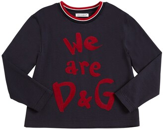 Dolce & Gabbana Logo Flocked Jersey Long Sleeve T-shirt
