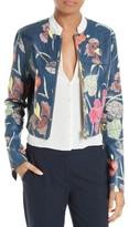 Diane von Furstenberg Women's Zip Front Print Leather Jacket