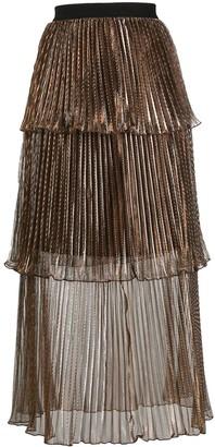 Self-Portrait Metallic Tiered Pleated Skirt