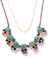 Ella & Elly Women's Necklaces Green - Green Crystal Skull Layered Statement Necklace