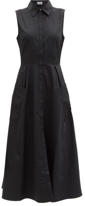 Co Sleeveless Cotton-sateen Shirt Dress - Black