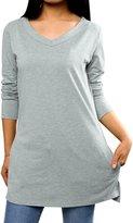 Allegra K Woman V Neck Long Sleeves Pockets Side Split Tunic Top L