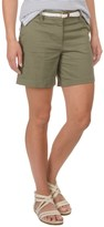 British Khaki Stretch-Woven Shorts with Braided Belt (For Women)