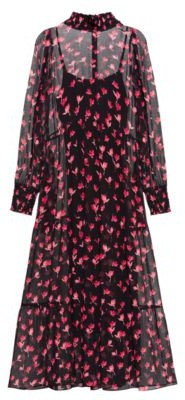 HUGO BOSS Midi Dress In Silk Chiffon With Cherry Blossom Print - Patterned