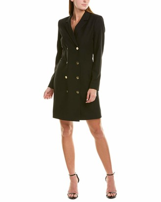 Tahari ASL Women's 3/4 Sleeves Collared Neck Double Breasted Coat Dress