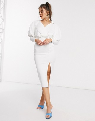 Asos DESIGN midi pencil dress with drape batwing sleeve in ivory