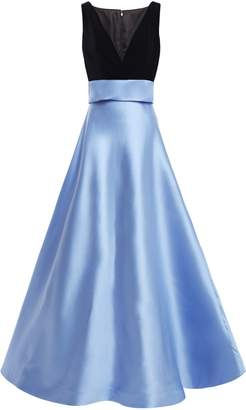 Costarellos Bow-embellished Two-tone Velvet And Duchesse-satin Gown