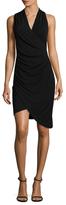 Nicole Miller Solid Jersey Surplice Neck Dress