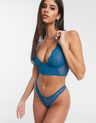 Gossard lace thong in teal