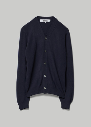 Comme des Garcons Men's Small Red Heart Sleeve Cardigan Sweater in Navy 100% Wool