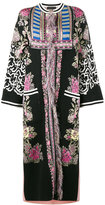 Etro fringed intarsia mid-length coat - women - Cotton/Polyamide/Polyester/Metallic Fibre - 42