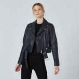 DSTLD Leather Biker Jacket in Blue
