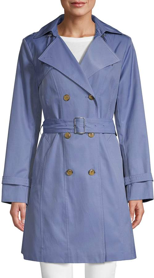 d873ae645 Double Breasted Hood Trench Coat
