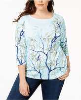 Charter Club Plus Size Cotton Printed T-Shirt, Created for Macy's