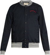 MAISON KITSUNÉ Embroidered-detail cotton bomber jacket