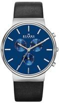 Skagen Men's Ancher Chronograph Leather Strap Watch