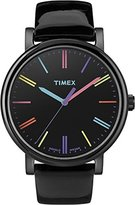 Timex Women's T2N790 Quartz Watch with Black Dial Analogue Display and Black Leather Strap