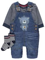 George 3 Piece Bear Dungarees, Top and Socks Set