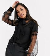 Fashion Union Petite contrast lace blouse with bow tie neck