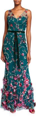 Marchesa V-Neck Sleeveless Embroidered Gown w/ 3D Flowers & Velvet Trim