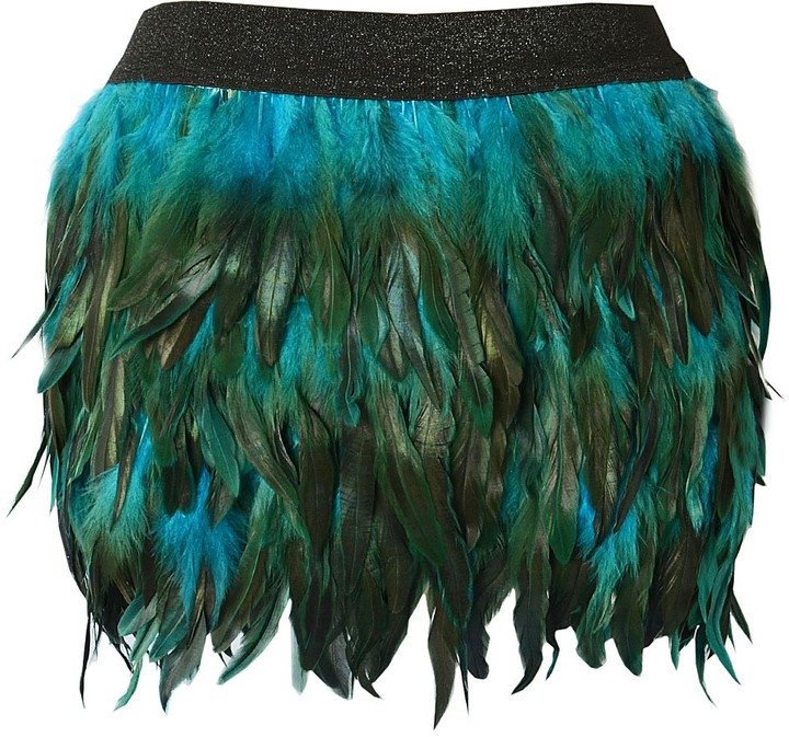 Miuco Feather Skirt Women Prom Cocktail Evening Dress Lovely Mini Skirt Blue Large