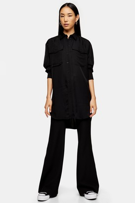 Topshop Womens **Black Longline Oversized Shirt By Black