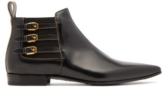 Gucci Triple-buckle Leather Ankle Boots - Black