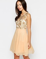 Little Mistress Skater Dress with Lace Top