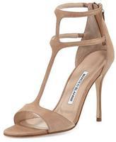 Manolo Blahnik Cellin Suede T-Strap High-Heel Sandal, Pink