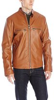 Andrew Marc Men's Bedford Leather Moto W/ Double Chest Pockets