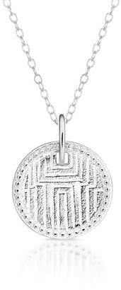 One And One Studio Aztec Sterling Silver Engraved Medallion Coin Necklace