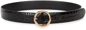 Andersons Black Crocodile-effect Leather Belt
