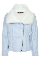 Select Fashion Fashion Womens Blue Bonded Faux Suede Jacket - size 6