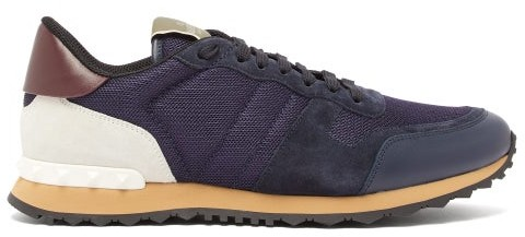 Valentino Rockrunner Low Top Suede And Mesh Trainers - Mens - Navy Multi
